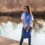 Scalloped Top & Blue Leopard Scarf