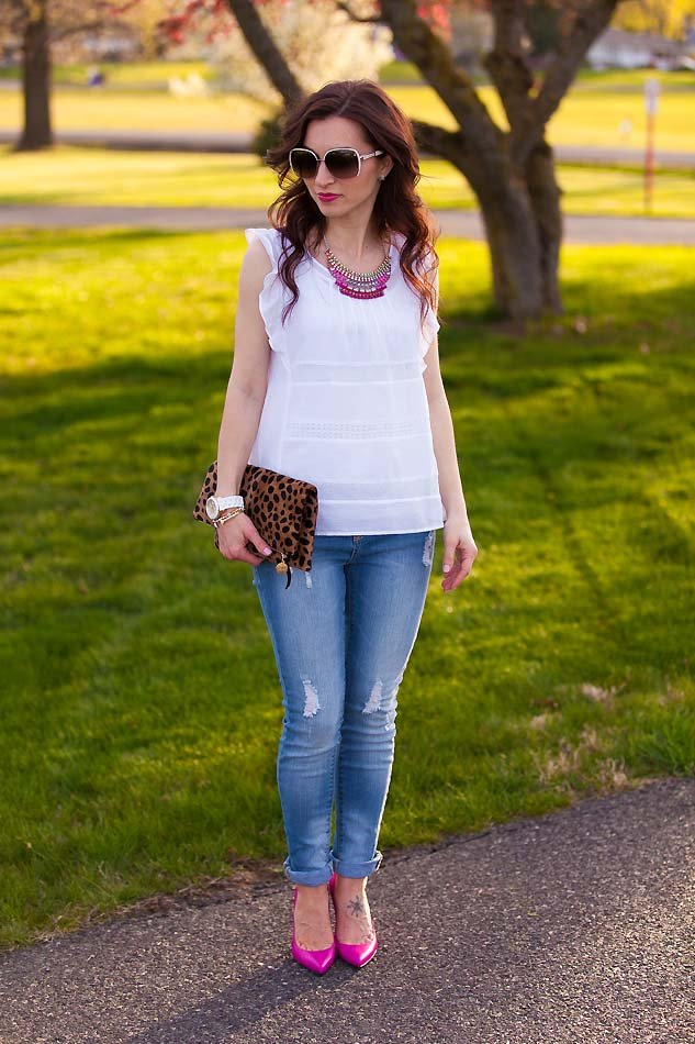 white flutter lace top