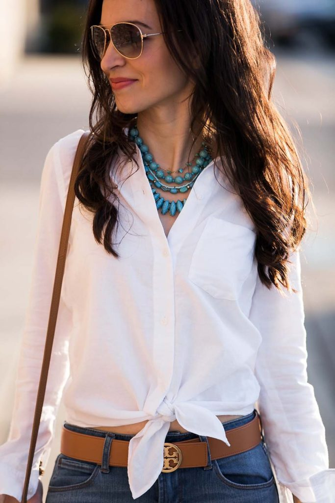 White Tie Front Shirt