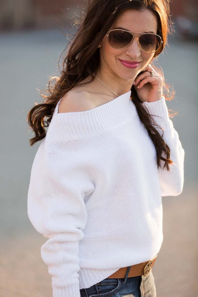 slouchy white sweater