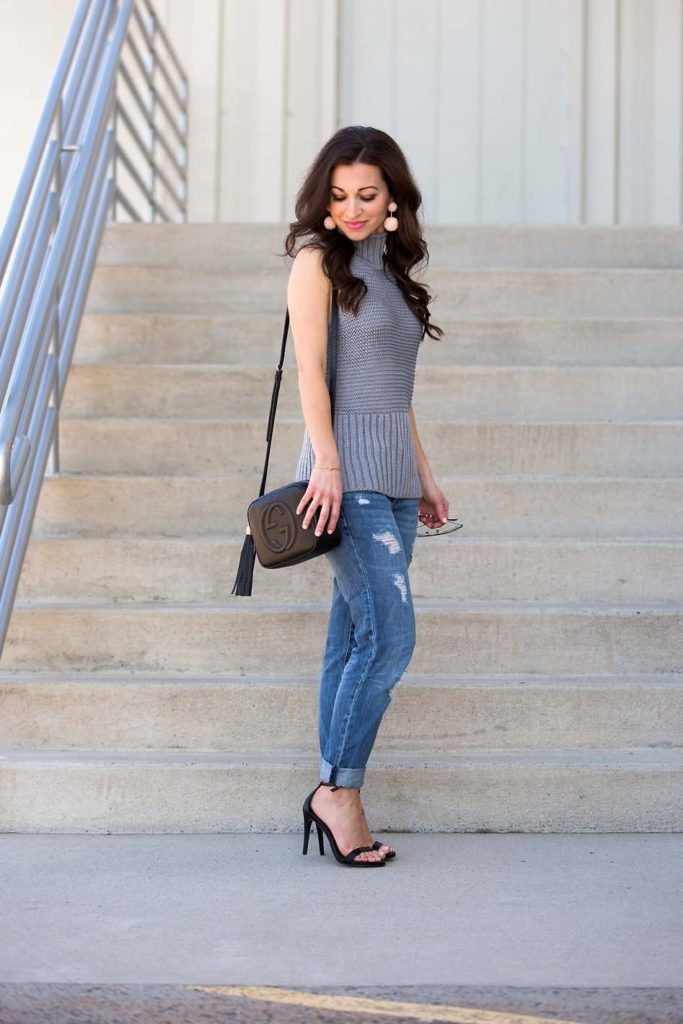 Gray Sweater Tank / Pom Pom Earrings