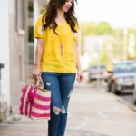 Embroidered Yellow Linen Top