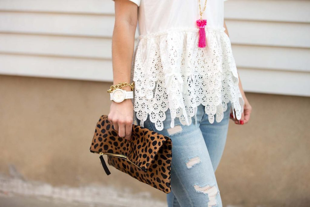 White lace peplum tee and Clare V. Leopard clutch