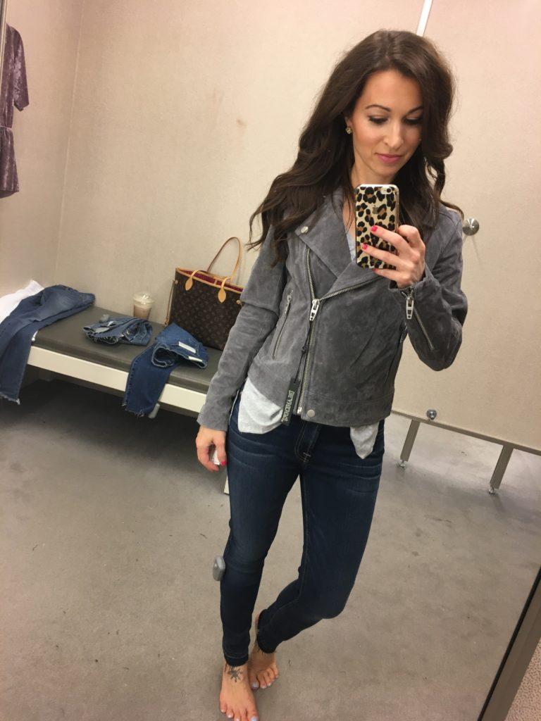 Nordstrom Anniversary sale dressing room session and gray suede jacket
