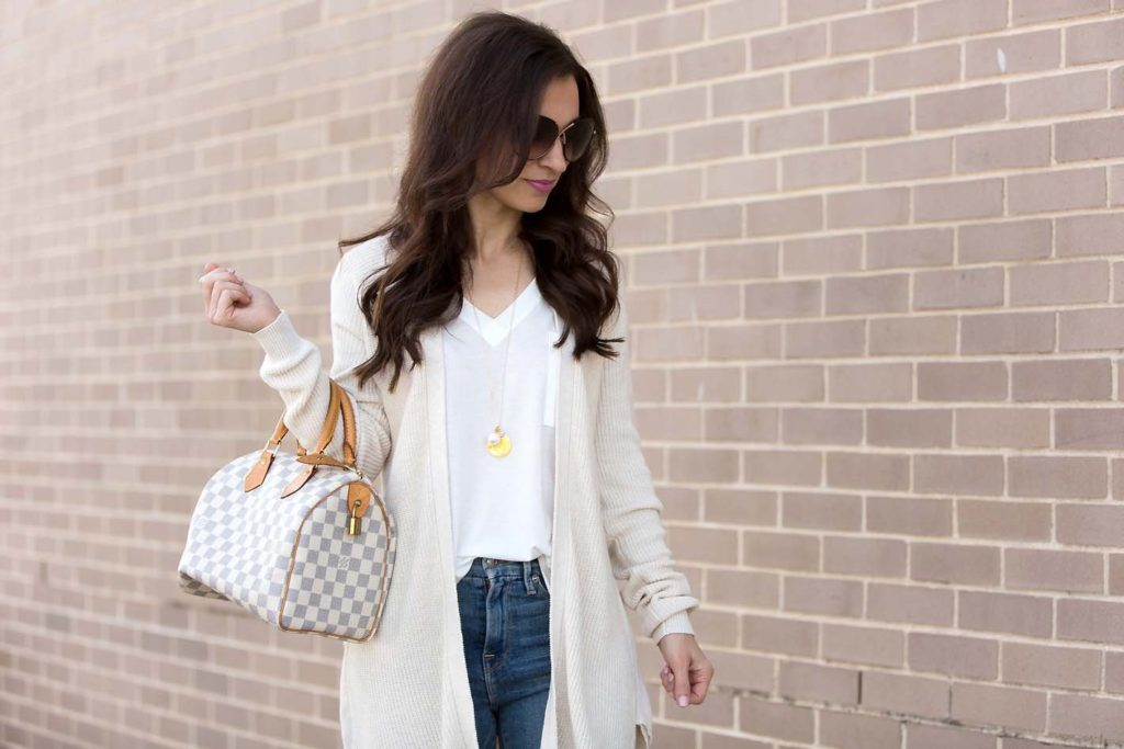 ivory ruffle cardigan and Louis Vuitton Speedy