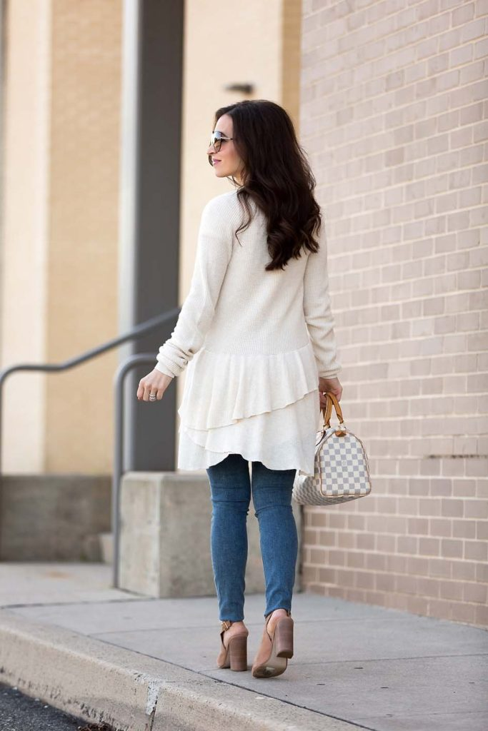 back detail of ivory ruffle cardigan from the Nordstrom sale