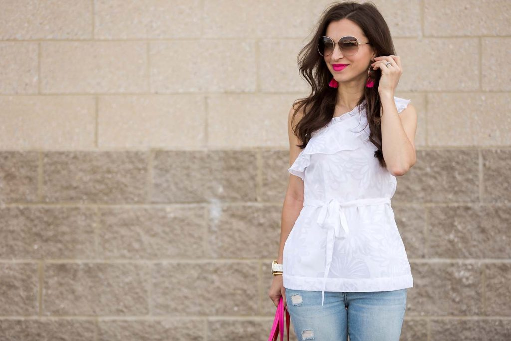 Current Boutique white top and pink bag on Alissa of Lipgloss & Labels