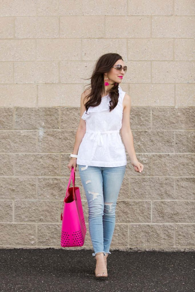 White top and pink Kate Spade tote from Current Boutique