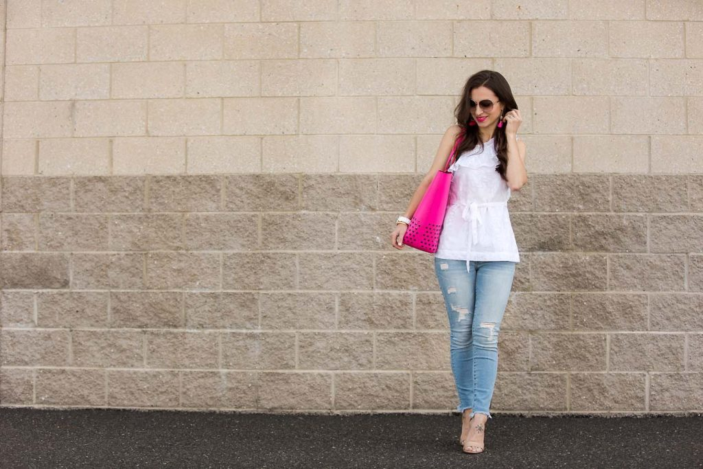 Alissa of Lipgloss & Labels wearing pre-loved fashion from Current Boutique