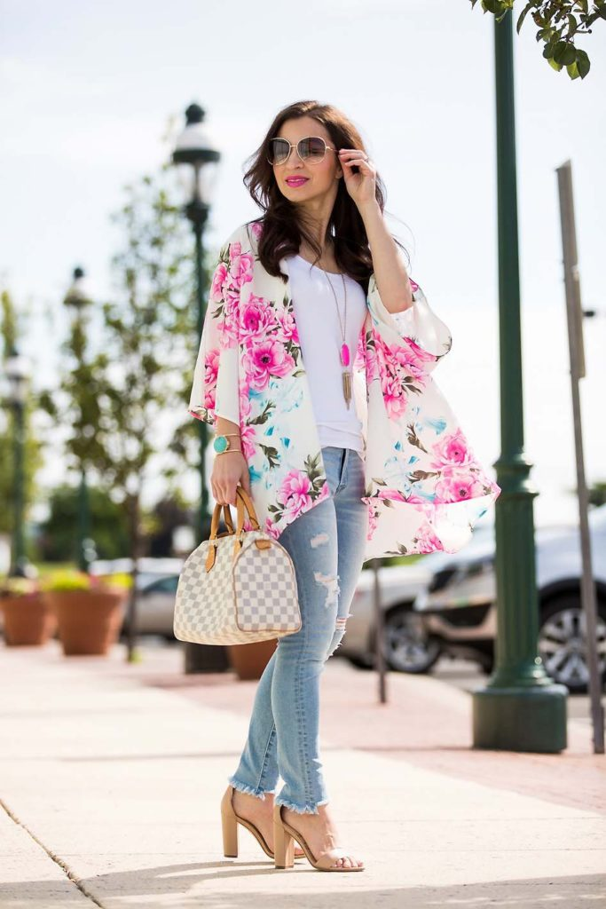 Alissa Weikel of Lipgloss & Labels wearing a floral summer kimono