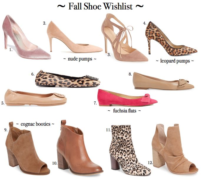 fall shoe wishlist of pumps, flats, and booties