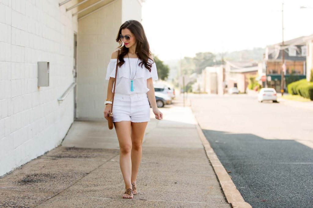white off shoulder top on Alissa Weikel of Lipgloss & Labels blog
