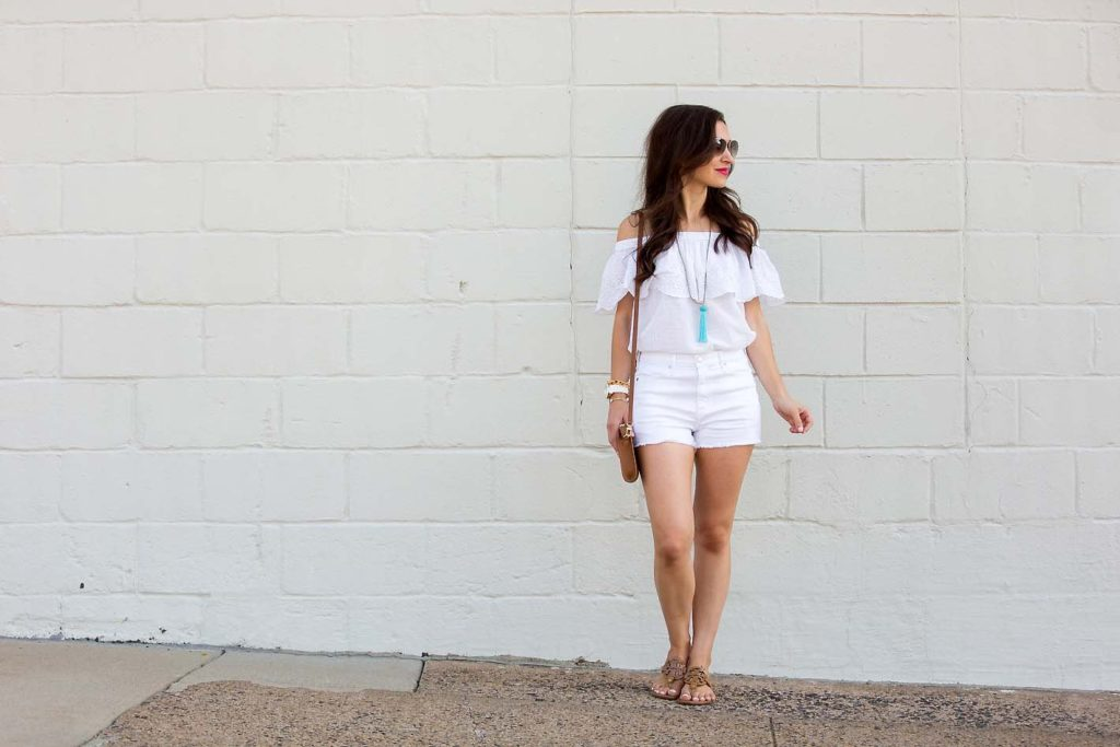white off shoulder top on blogger Alissa Weikel of Lipgloss & Labels