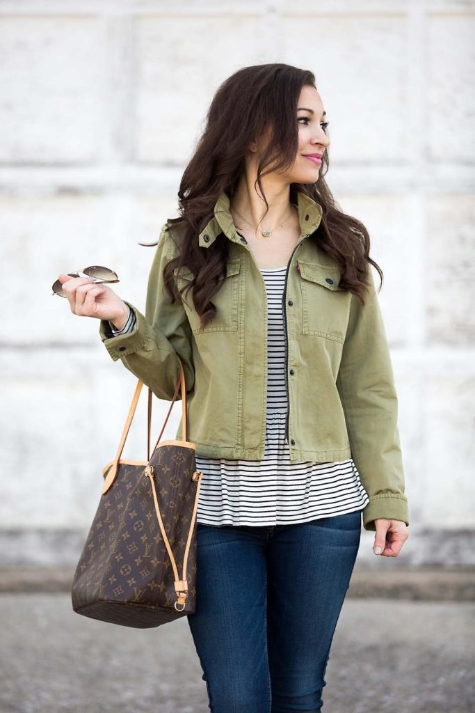 striped peplum tee and olive green utility jacket