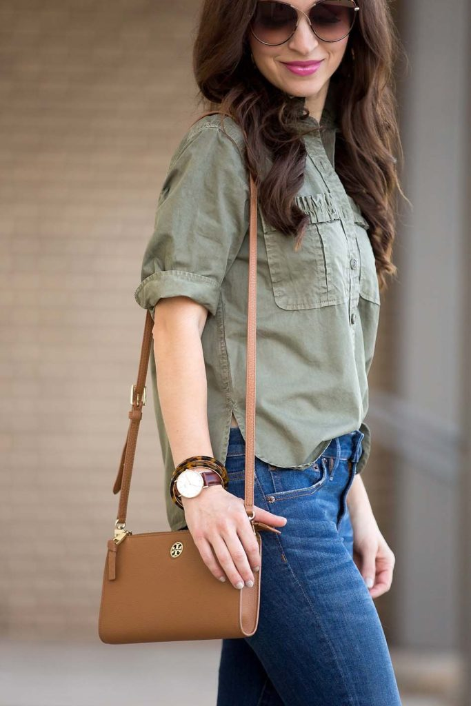 Olive Green Utility Shirt and Tory Burch Cross Body Bag