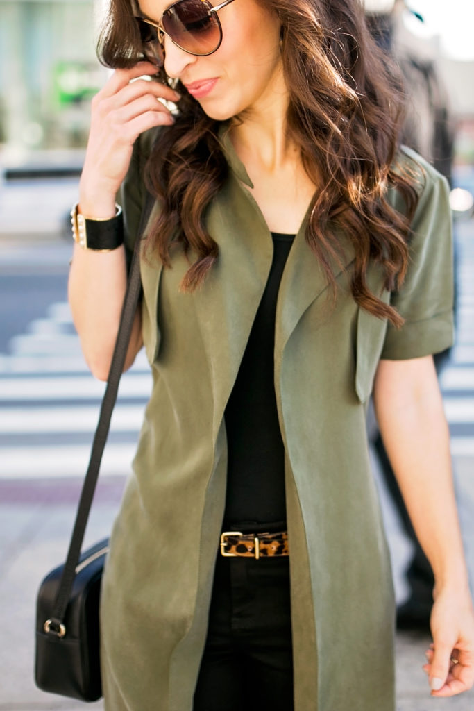 olive trench vest and leopard belt