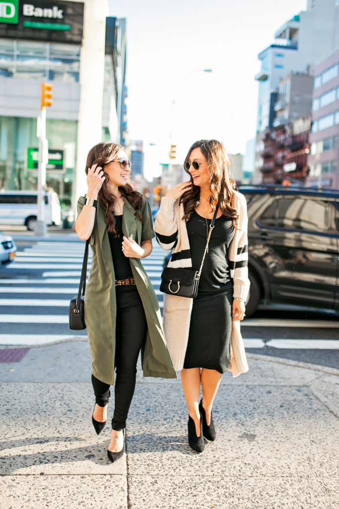 Alissa Weikel of Lipgloss & Labels wearing an olive trench vest with blogger Ashley Donielle
