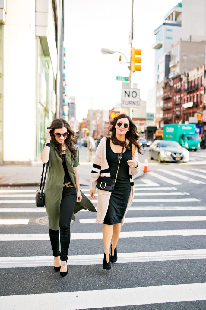 Fashion bloggers Alissa Weikel and Ashley Donielle wearing an olive trench vest and long cardigan