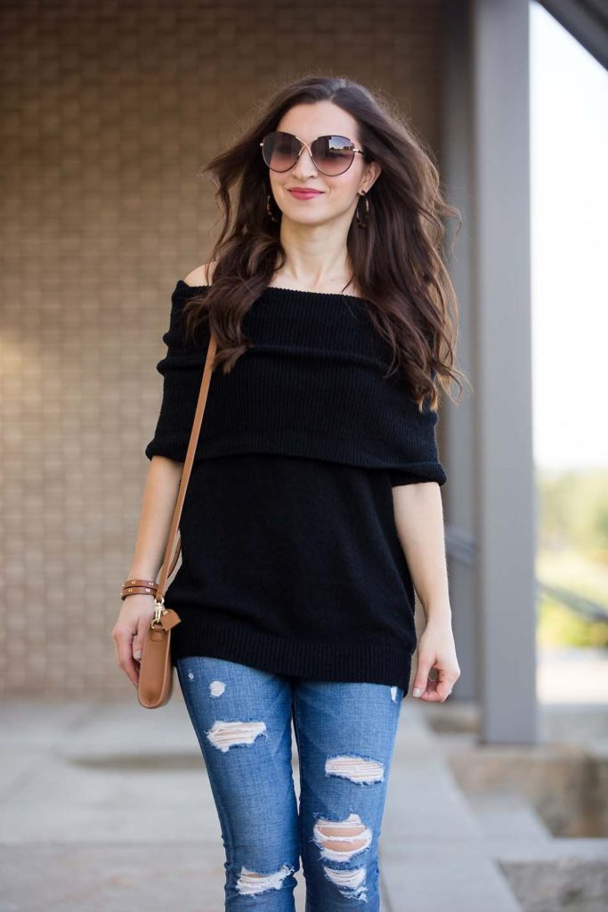 Off Shoulder Black Sweater and ripped jeans