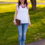 White Flutter Lace Top and Bib Necklace