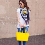 Navy Striped Scarf & Yellow Tote