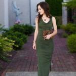 Olive Cowl Neck Dress