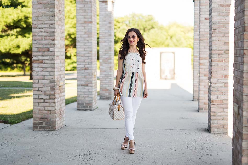 Alissa Weikel from Lipgloss & Labels wearing Target Striped Peplum tank and white skinny jeans