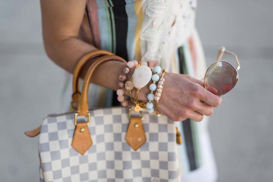 Alissa Weikel from Lipgloss & Labels wearing Bourbon & Boweties bangles