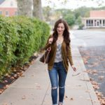 Olive Green Cardigan with Striped Tank