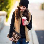 Camel Plush Fleece Vest / Early Black Friday Sales