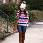 Striped Teddie Sweater / OTK Boots
