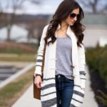 Long Stripe Toggle Cardigan