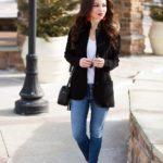 Wool Sweater Blazer / Red Statement Earrings