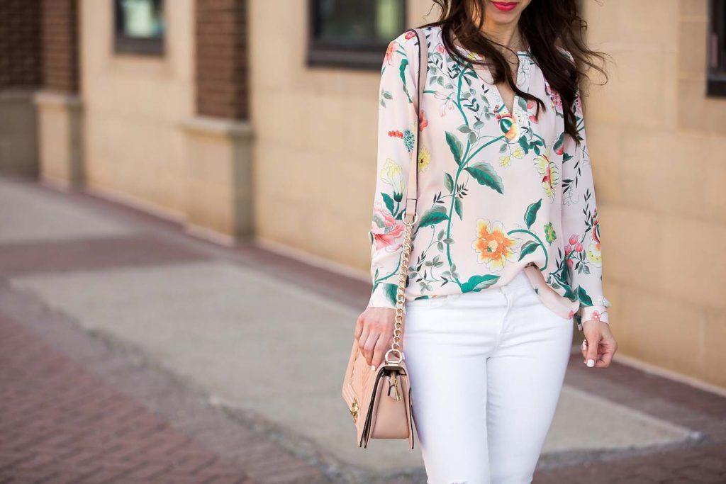 floral blush blouse