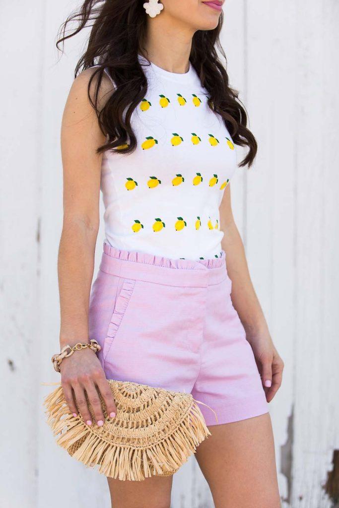 lavender ruffle shorts