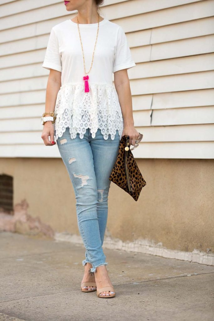 Alissa Weikel of Lipgloss & Labels wearing white lace peplum tee