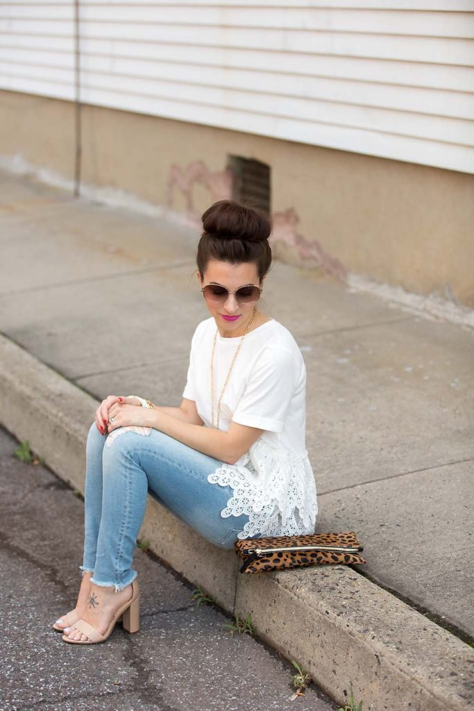 lace peplum tee and Sam Edelman sandals