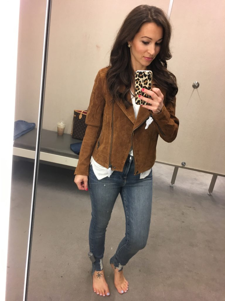 Nordstrom Anniversary sale dressing room session and cognac suede jacket
