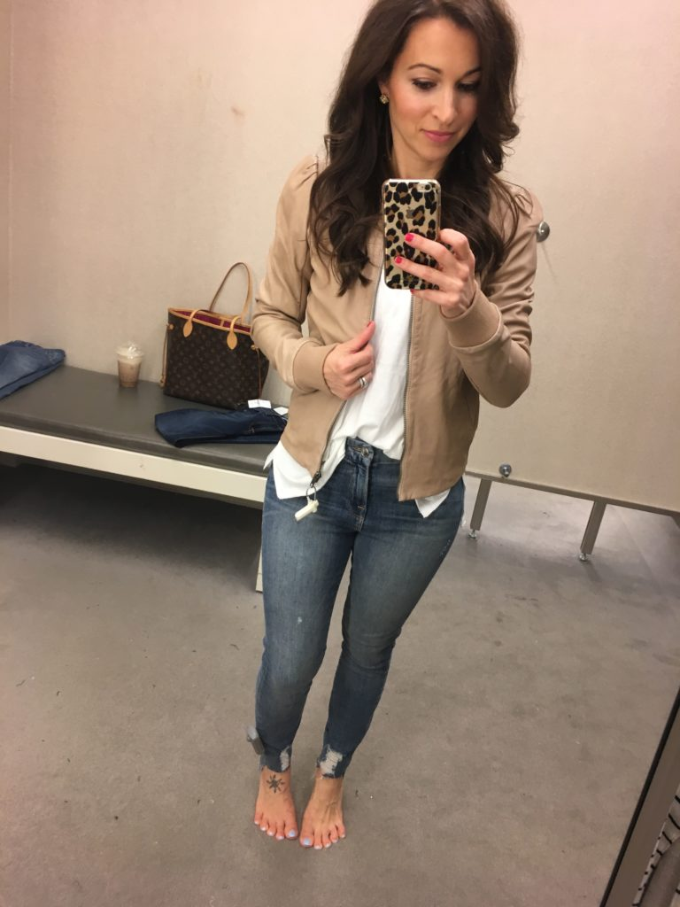 Nordstrom Anniversary sale dressing room session and beige leather bomber jacket