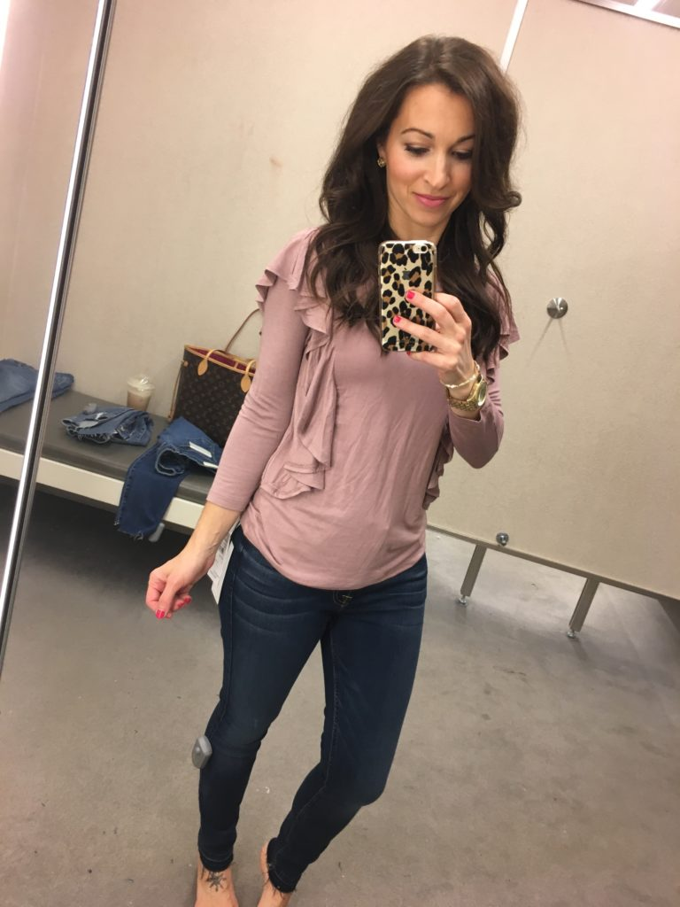 Nordstrom Anniversary sale dressing room session and pink ruffled tee