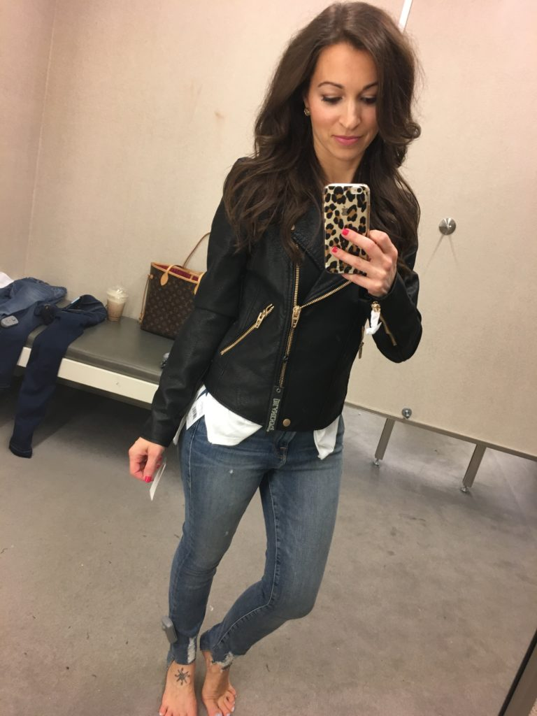 Nordstrom Anniversary sale dressing room session and black faux leather jacket