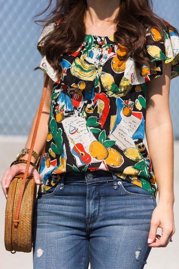 postcard print ruffle top and Ellen & James bag