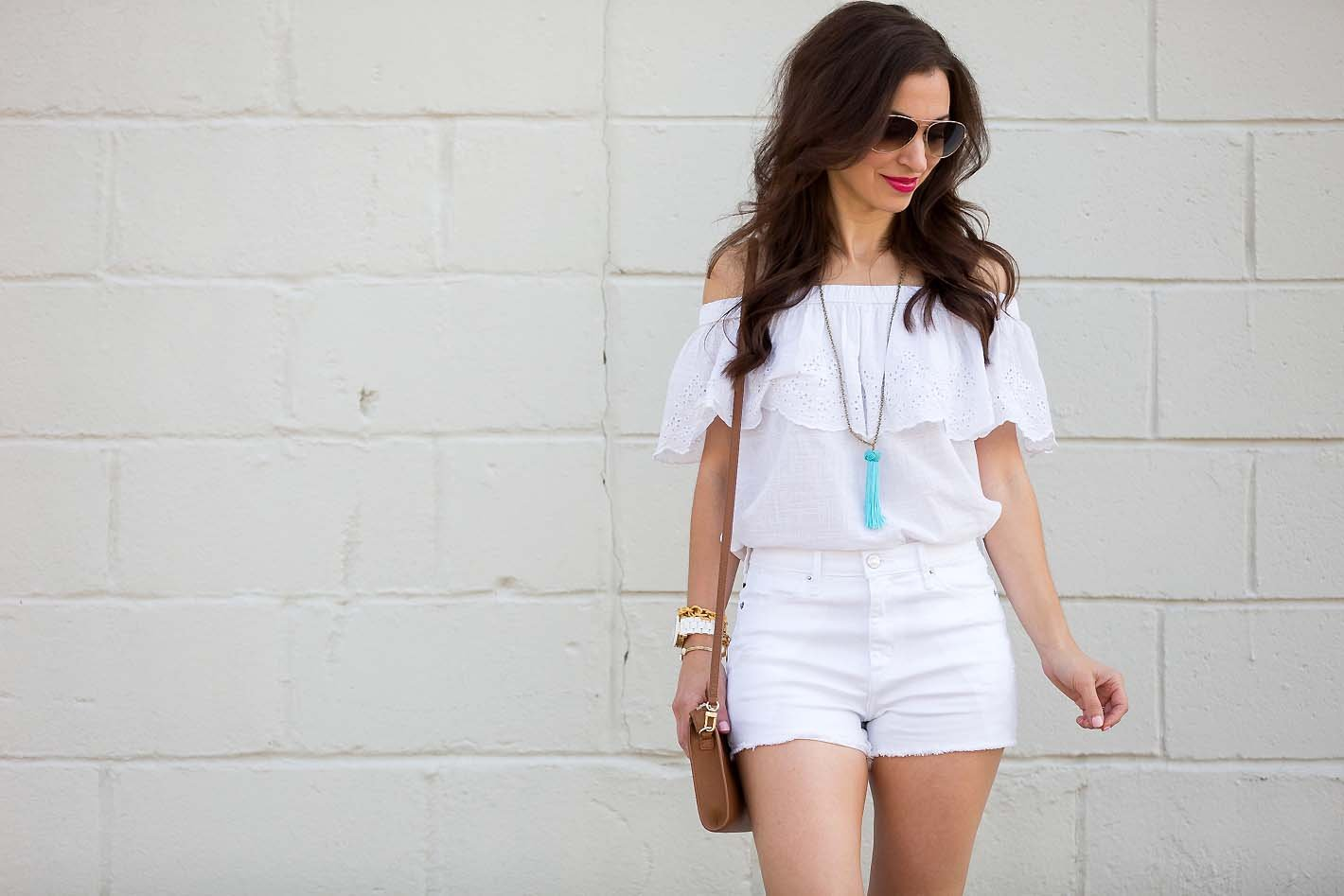 7c60f749893c White Off Shoulder Top   White Denim Shorts - Lipgloss   Labels