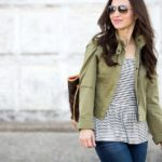 Striped Peplum Tee / Olive Green Cropped Jacket