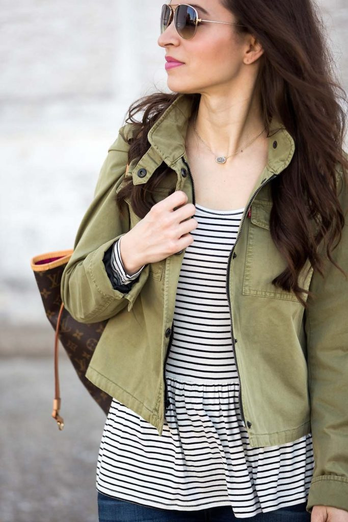 striped peplum tee and cropped utitlity jacket