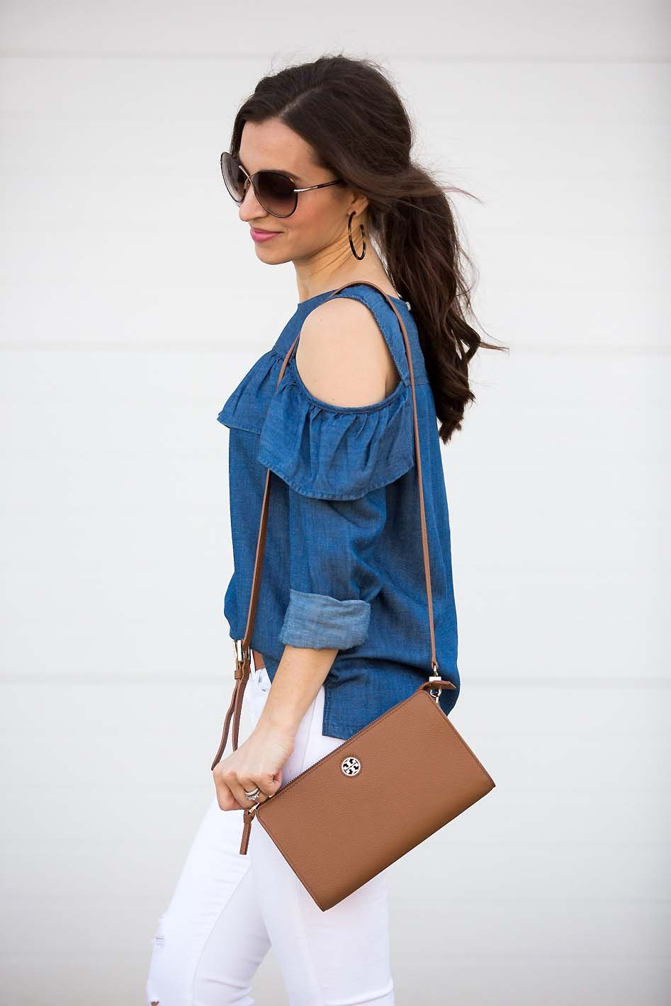 d960cab8044c49 Chambray Cold Shoulder Top and Tory Burch crossbody bag