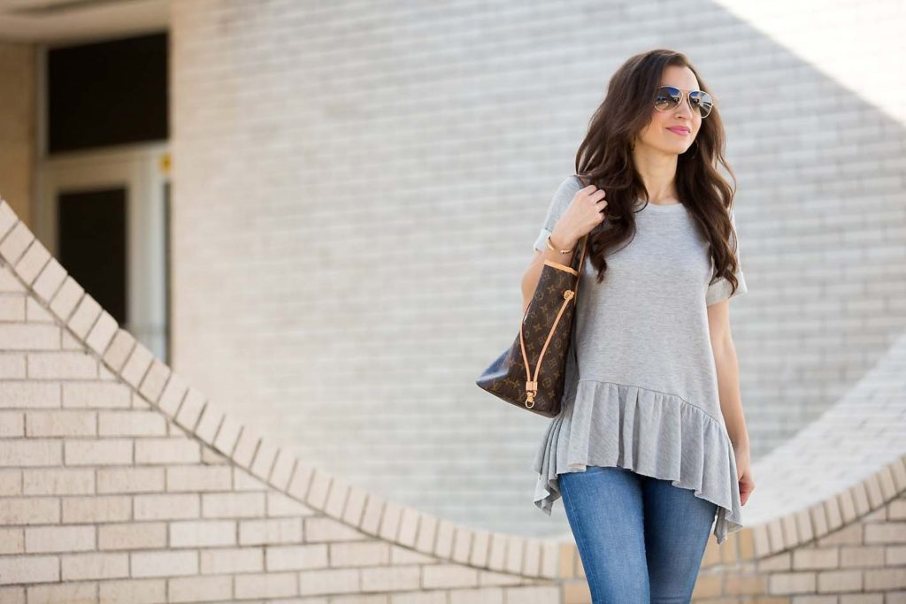 Grey Peplum Sweatshirt