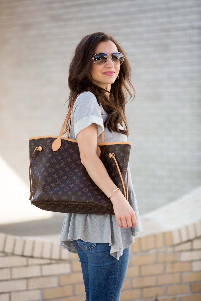 Grey Peplum Sweatshirt and Louis Vuitton Neverfull