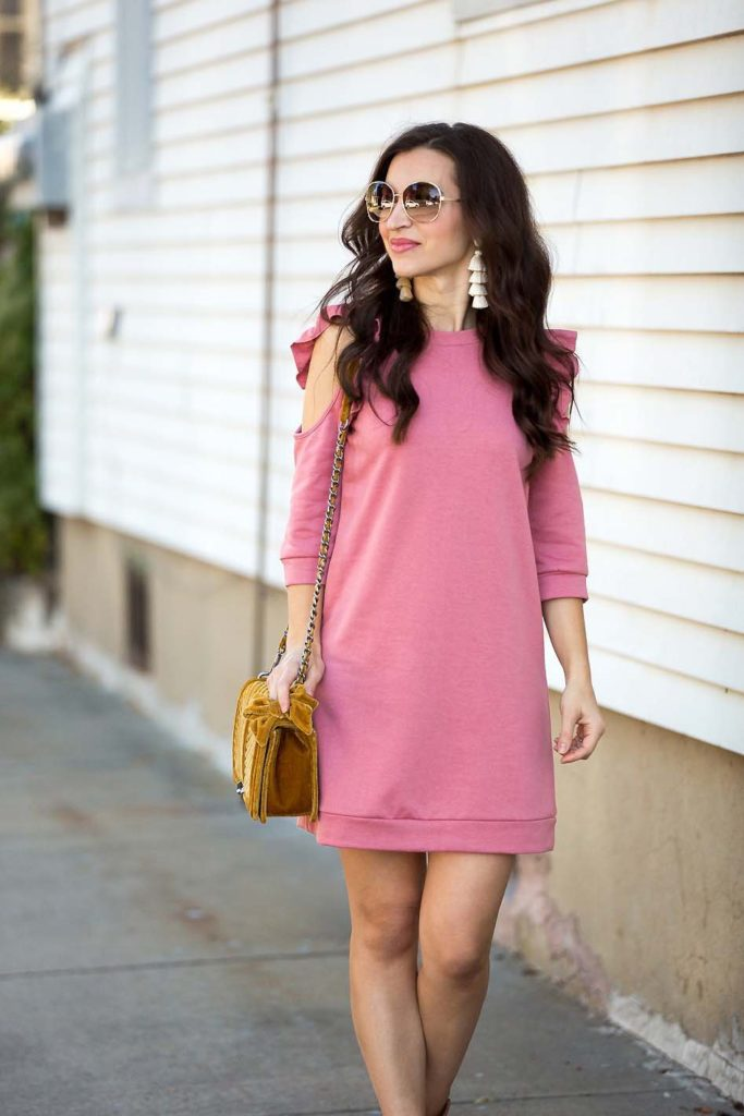 Cold Shoulder Ruffle Sweatshirt Dress