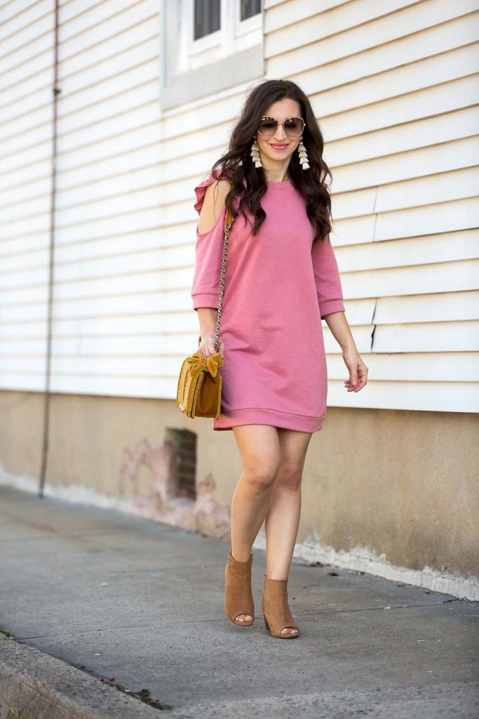 Cold Shoulder Ruffle Sweatshirt Dress Peep Toe Booties